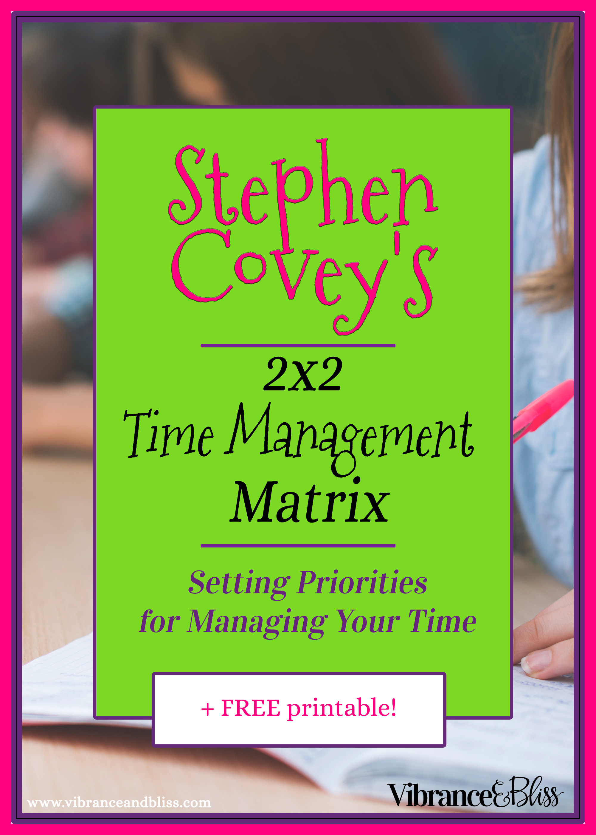 image about Covey Quadrants Printable referred to as Stephen Coveys 2x2 Season Manage Matrix - Vibrance Bliss